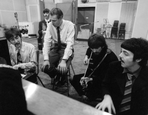 The Beatles with George Martin, Abbey Road Studios, London. January 1967. © Apple Corps Ltd.   Images may be editorially reproduced only in conjunction with the 2014 release of The Beatles Mono on vinyl. Promotional and review purposes only. Use until 31st December 2014